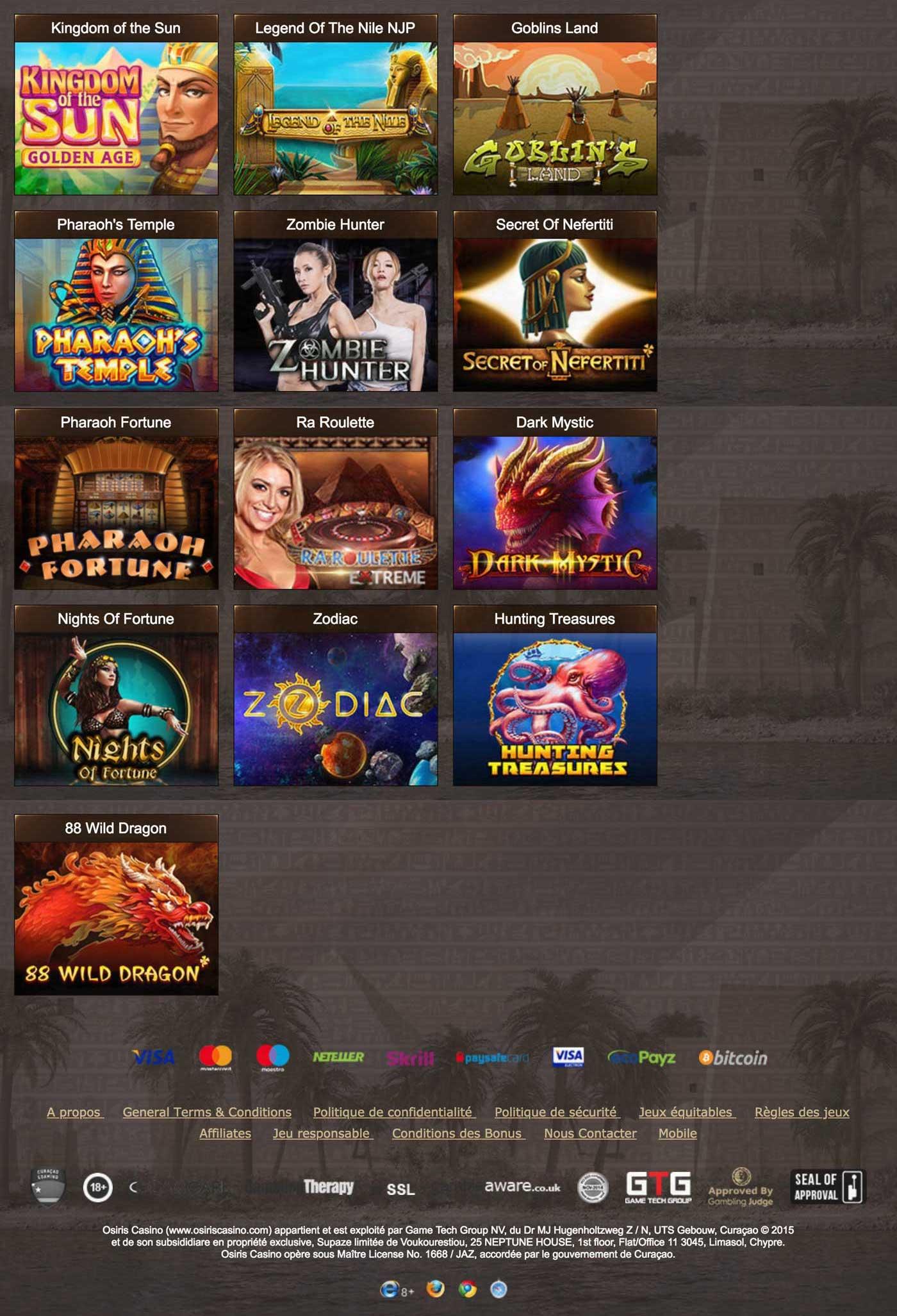 Notre avis sur le casino en ligne Osiris